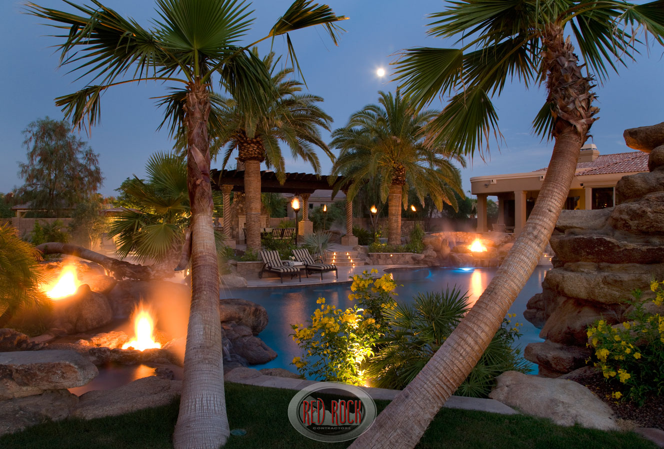 red rock pools & spas, red rock contractors, red rock design, gilbert architecture, gilbert design, custom pool, ramada, fire features, misting system, fog system, outdoor kitchen, fireplace