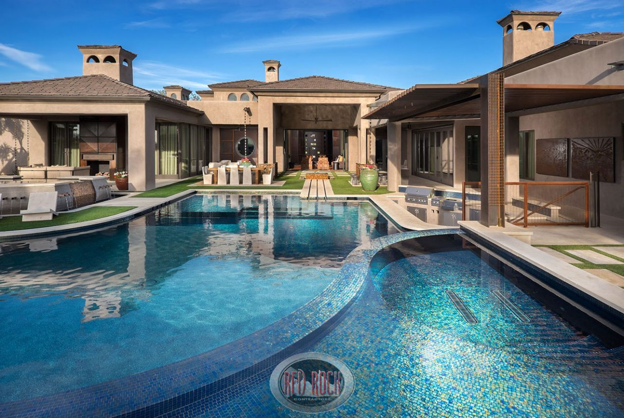 red rock pools & spas, red rock contractors, red rock design, custom pool, glass tile pool interior, gilbert architecture, gilbert design, swim up bar, bbq, outdoor kitchen